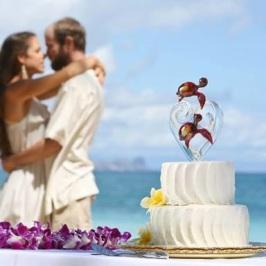 Custom Glass Wedding Cake Toppers by Kai Pua Gallery, Maui