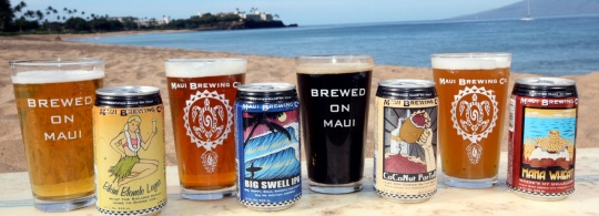 Maui Brewing Cans and Glasses on the Beach - Brewed on Maui