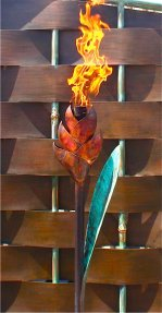 heliconia red green metal tiki torch