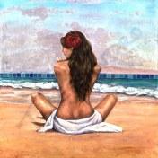 Hula Break Artwork Mixed Media Woman Beach Towel Ocean
