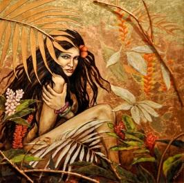 Island Secret Painting Woman tropical foliage