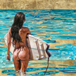 Only in Maui by artist Taryn Alessandro Naked Woman Surfing Beach Ocean