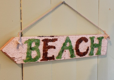 Sea Glass Sign Wooden Beach Shabby Chic