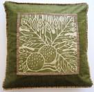 breadfruit pillow blockprint green