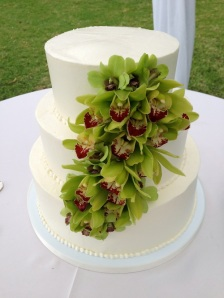 Maui Sweet Cake Wedding Cake with Green Cymbidum Orchids