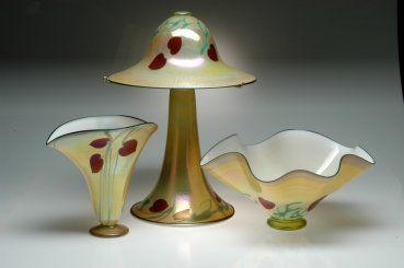 Antique Heart Glass Lamp and Vases