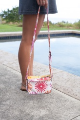 pink floral white cross body bag handmade
