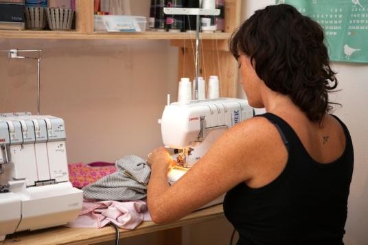 katie browne at sewing machine