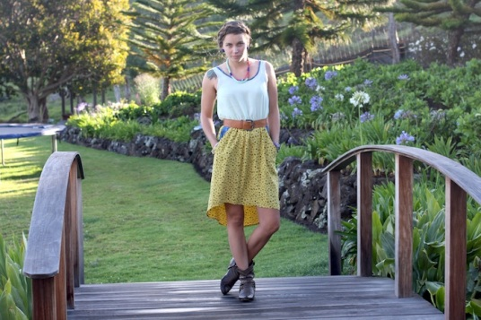 white yellow high low dress made on maui