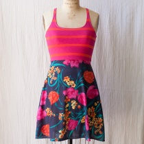 Red Stripe Blue Floral Dress