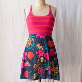 Red Stripe Blue Floral Dress