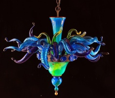 blown glass chandelier by maui artist rick strini