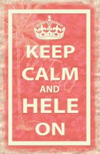 keep calm and hele on poster postcard