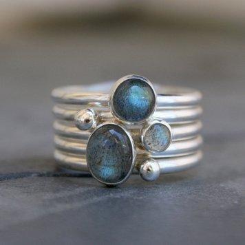 Silver Cabachon Rings Labradorite Made on Maui