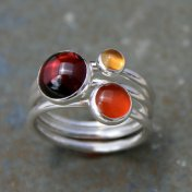 Maui Sunset Stacking Rings with Garnet, Citrine and Carnelian
