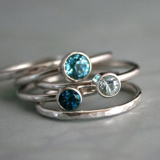 topaz aquamarine silver ring stacking custom