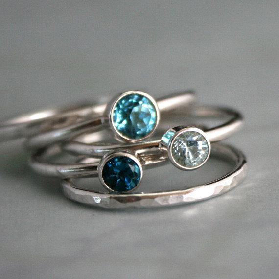 topaz aquamarine silver ring stacking custom