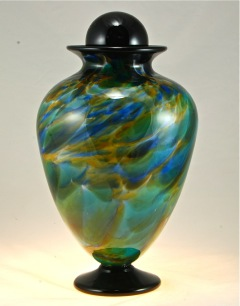 blown glass funeral urn