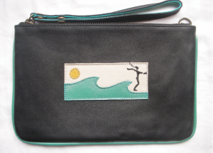 clutch leather surfer girl black blue wave