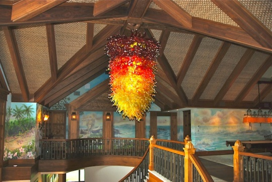 Red and Orange Glass Chandelier