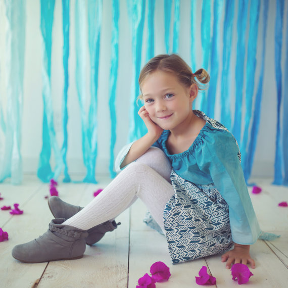 blue ombre girls dress lace feather fabric