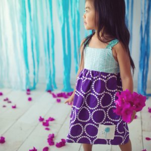 Girls Sleeveless purple teal dress