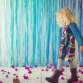 teal floral fall custom girls dress