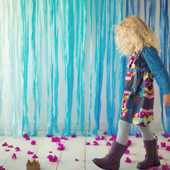 teal floral fall custom girls dress