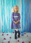 navy blue herringbone girls dress