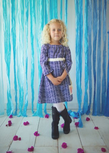 navy blue herringbone girls dress