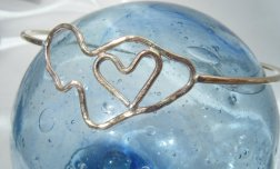 maui love bangle bracelet with glass fishing float maui