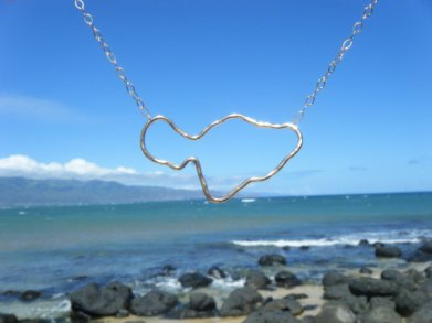 maui island shape necklace silver or gold