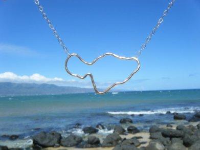 maui island shape necklace silver or gold