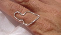 maui island shape ring silver or gold custom