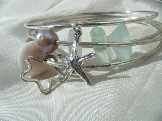 sterling silver starfish bangle made on maui hawaii pearl sea glass puka shell jewelry