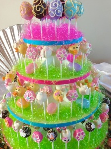 easter cake pop four tier display