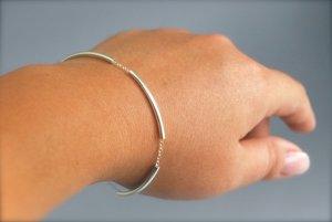 modern delicate silver bar bracelet