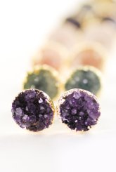 Purple druzy studs