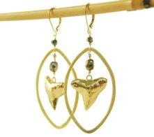 gold shark tooth hoop earrings