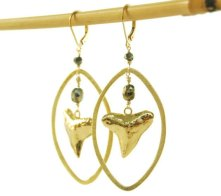 gold shark tooth hoop earrings