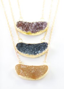 druzy gold necklace