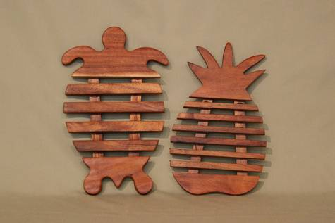 Koa Wood Trivets Turtle and Pineapple
