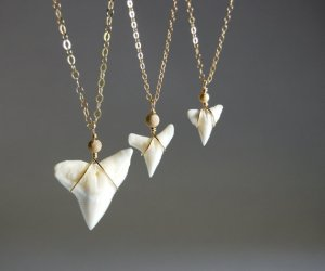 shark tooth gold silver necklace hawaii