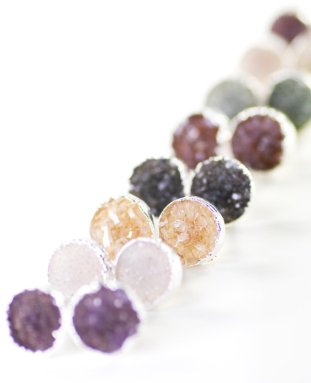 round druzy earring studs in silver