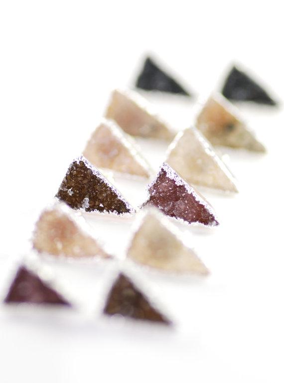 triangle druzy earring studs in silver
