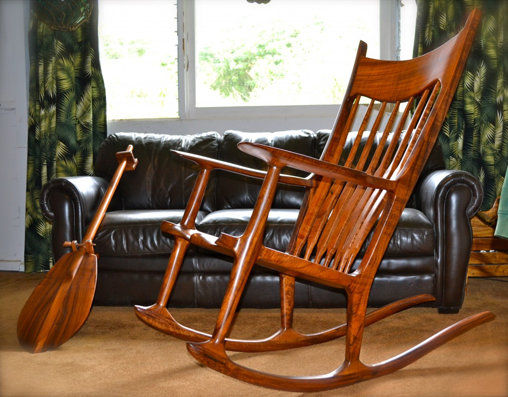 Marvelous photograph of Koa Wood Rocking Chair Made on Maui with #B54B04 color and 1024x801 pixels