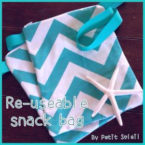 handmade snack bag blue chevron