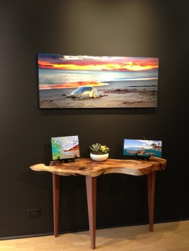 wood table art gallery display modern
