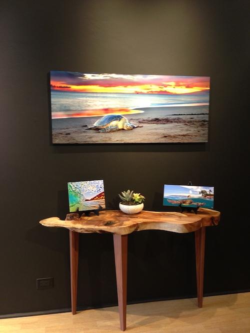 wood table art gallery display modern
