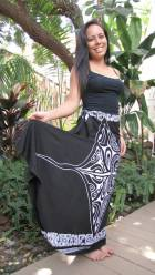 Kapa Skirt Black White Ha Wahine
